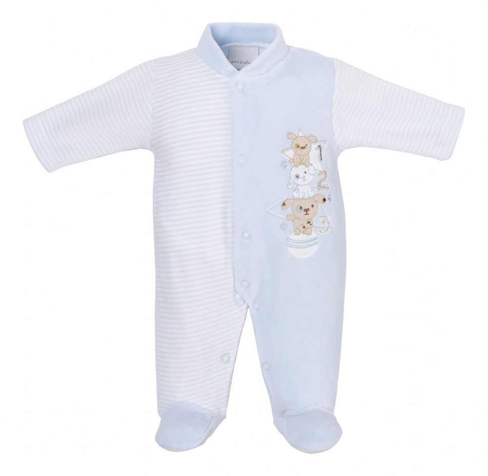 "DC3146 ""My Stacking Dogs"" Velour sleepsuits"